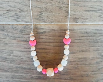 Pink Heart Teething Necklace for Mom