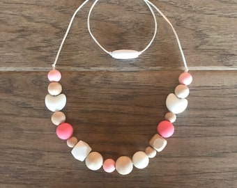 White Heart Teething Necklace for Mom