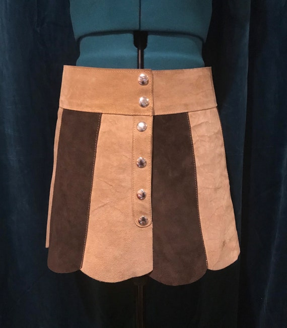 1960s suede micro mini skirt