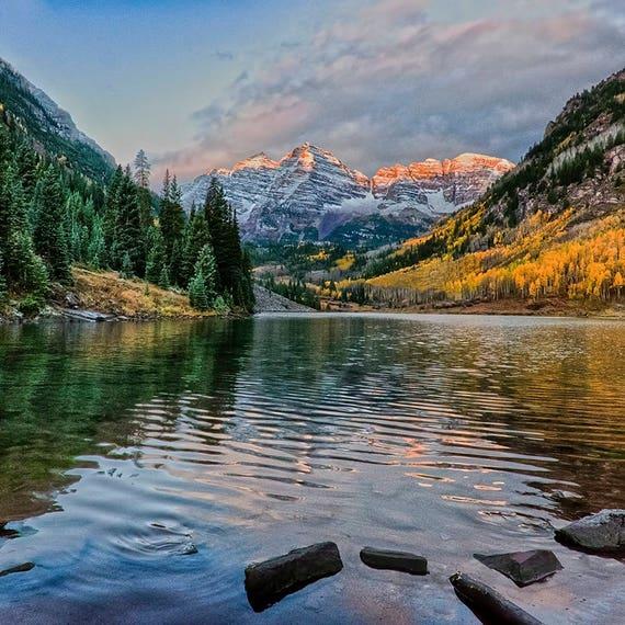 Maroon Bells Maroon Bells Print Colorado Maroon Bells Photo Fall Autumn Colorado Print Colorado Fall Color Mountains Landscape