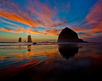 Sunset, Cannon Beach, Oregon, Haystack Rock, Oregon Coast, Cannon beach sunset, Cannon beach print, Cannon, Oregon beach photo, beach decor