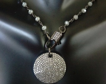Pave Round Disc Necklace