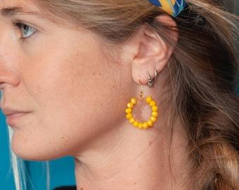 Beaded hoop earrings - statement earrings - blue or red