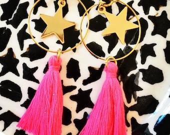 Hoop earrings - gold star charm - pink tassels.