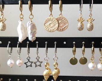 Huggies - Hoop Earrings with charm
