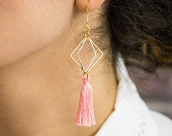 Tassel earrings - geometric style - colourful tassels