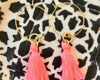 Hoop earrings - pink tassel.