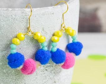 Hoop earrings - colourful pompoms - beaded