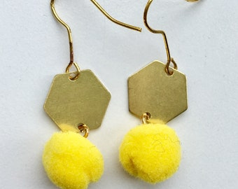 Pom pom earrings - geometric - lots of colours available