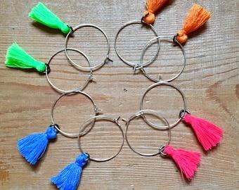 Hoop earrings - colourful - tassels