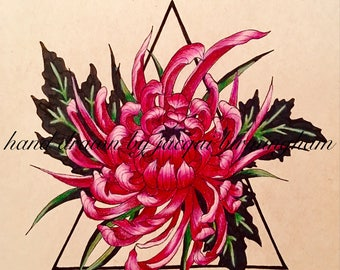Maroon Flower Drawing
