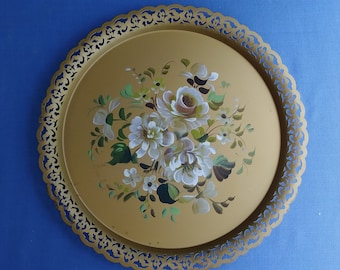 Vintage Tin Tray - White With Gold Flowers - Hand Painted Toleware Tray - 1960's