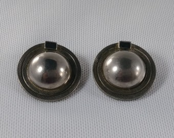 Vintage Silver Tone Earring - Button Clip On Earring