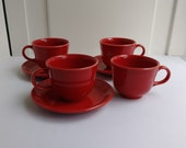 Fiestaware Scarlet Cups Saucers - 3 Red Saucers and 4 Red Cups