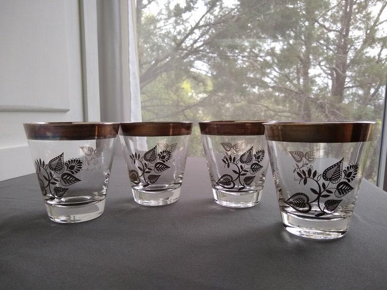 Vintage Georges Briard Glassware Gold Leaf Rims Leaves Design 1960 S