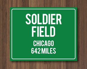 Soldier Field Personalized Destination Sign, Chicago Bears Gift, Highway Sign, Distance Sign, Custom Miles Address Arrow, on Metal or Canvas