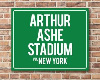 Arthur Ashe Stadium Personalized Destination Sign US Open Tennis Gift Highway Sign Distance Sign Custom Miles Address Arrow Metal Canvas