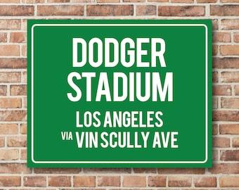 Dodger Stadium Personalized Destination Sign LA Dodgers Gift Highway Sign Distance Sign Custom Miles Address Arrow Metal or Canvas