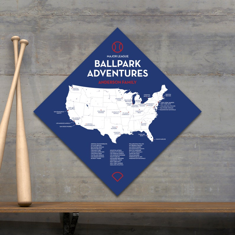 Baseball Stadium Push Pin Map, Ballpark Travel Quest MLB Chicago Cubs Gift,  Personalized Large Canvas Wall Art Hanging or Poster