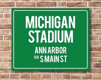 Michigan Stadium Personalized Destination Sign, Michigan Gift, Highway Sign Distance Sign, Custom Miles Address Arrow on Metal or Canvas