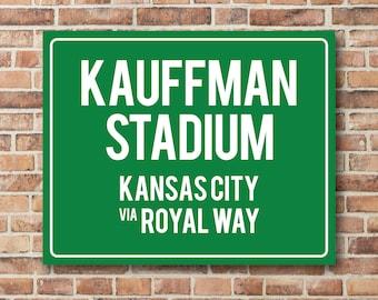 Kauffman Stadium Personalized Destination Sign Kansas City Royals Gift Highway Sign Distance Sign Custom Miles Address Arrow Metal or Canvas