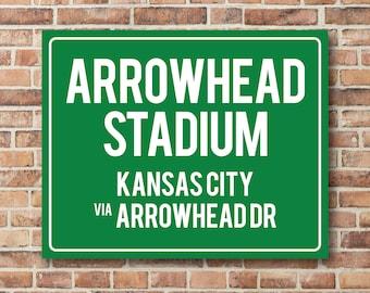 Arrowhead Stadium Personalized Destination Sign Kansas City Chiefs Gift Highway Sign Distance Sign Custom Miles Address Arrow Metal Canvas