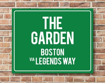 The Garden Personalized Destination Sign Boston Bruins or Celtics Gift Highway Sign Distance Custom Miles Address Arrow on Metal or Canvas