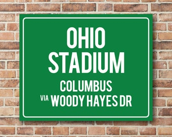 Ohio Stadium Personalized Destination Sign Ohio State Buckeyes Gift Highway Sign Distance Sign Custom Miles Address Arrow on Metal or Canvas