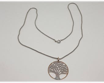 Honeycomb Necklace Tree of life silver 925% rhodium-plated