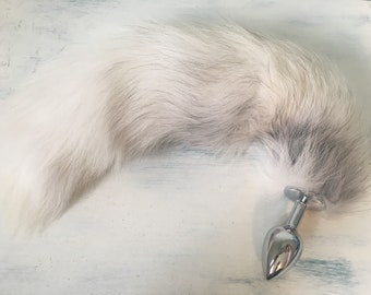 Fluffy Cream and Grey Vegan Fox Tail Butt Plug