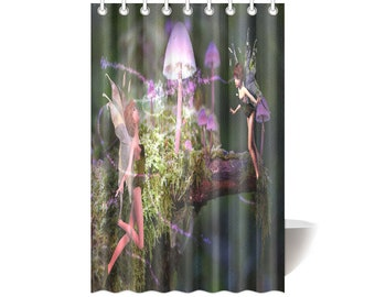 Magic Mushroom Fairies Shower Curtain 48x72