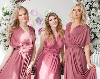 e38bf29871b Dusty Rose Bridesmaid Dress Infinity Dress Floor Length Maxi Wrap  Convertible Rosewood Dress Wedding Dress Multiway Dress