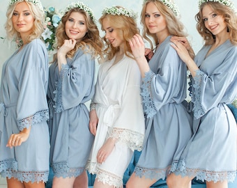 Dusty Blue Slate Bridesmaid Robes  9803c89f5