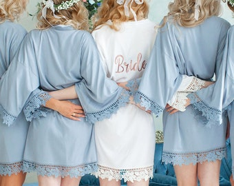 Bridesmaid Robes | Bridesmaid Gift | Bridal Party Gifts | Bachelorette Robe | Cotton Robes | Wedding Robes | Bridal Party Robe | Bride Robe