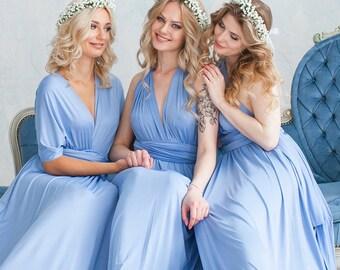 Dusty Blue Bridesmaid Dress Infinity Dress Floor Length Maxi Wrap Convertible Dress Wedding Dress Multiway Dress