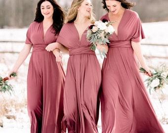 19537be5f82 Rosewood Bridesmaid Dress Infinity Dress Floor Length Maxi Wrap Convertible  Dusty Rose Dress Wedding Dress Multiway Dress