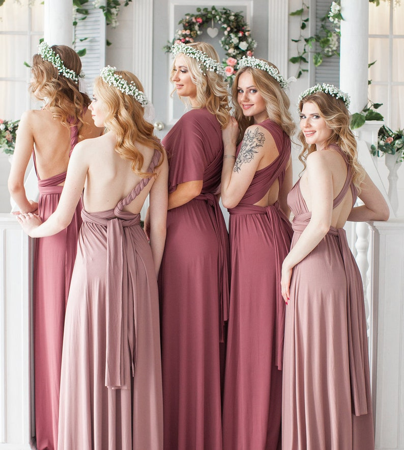 5ab66548f38 Mauve Bridesmaid Dress Dusty Rose Infinity Dress Convertible