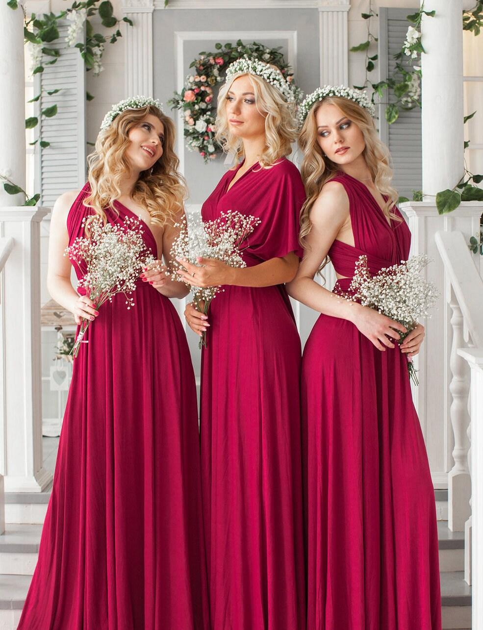 db915e1fd55 Burgundy Infinity dress convertible dress Bridesmaid Dress