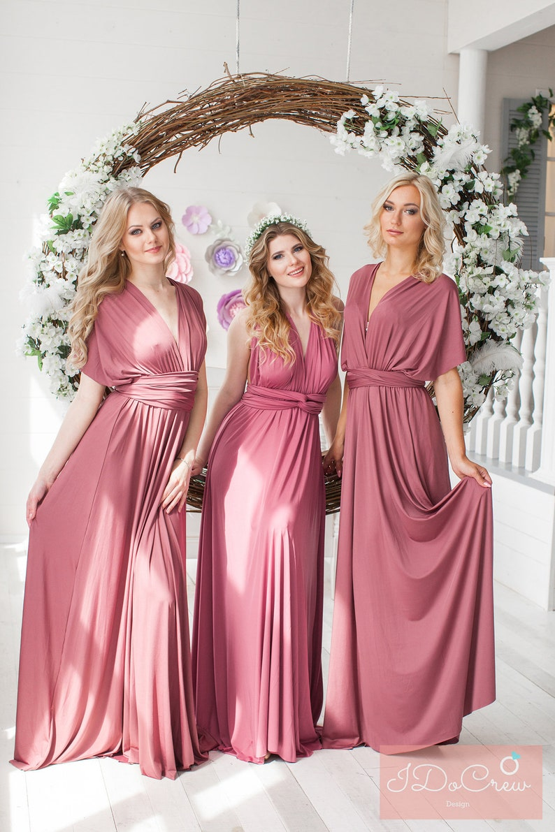 62d0327b26e Dusty Rose Bridesmaid Dress Infinity Dress Floor Length Maxi