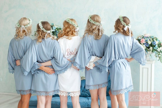 51cc65e4f8 Sale Lace Bridesmaid Robes Bridesmaid Gifts Cotton Robe