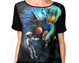 Betta in Space Women Chiffon Shirt Casual Summer Tops Loose Top T Clothes astronaut fighting fish