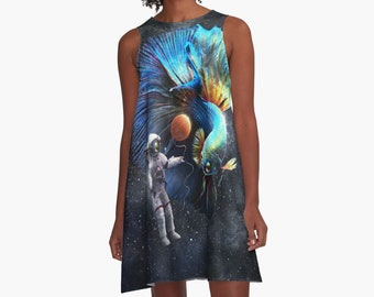 Betta in Space Graphic A Line  Print Dress Parrots Loose Flowy Dresses Surreal Astronaut Fighting Fish Galaxy