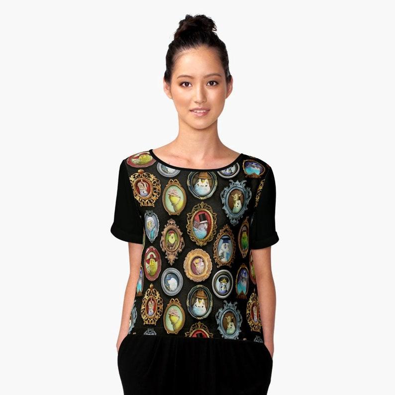 4dd63f3d4a2ab Budgies in Hats Parakeet Women Chiffon Shirt Casual Summer Tops Loose Top T  Clothes Birds Parrot Parakeets Budgerigar bird print