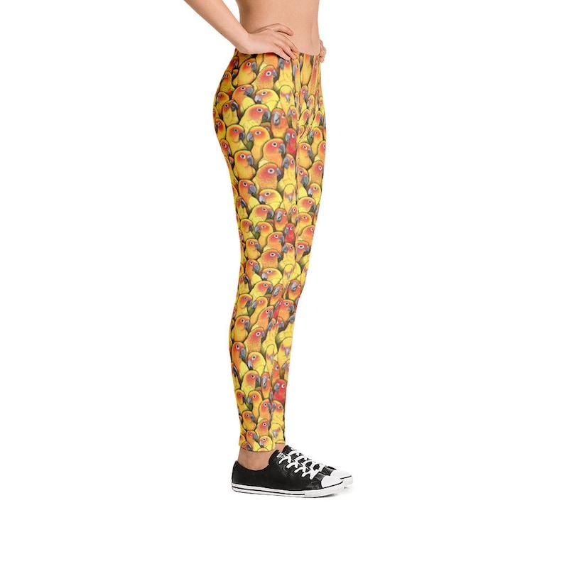 Sun Conure Leggings Bird Conures Parrot Birb Print Comfy Pants Yoga Soft Fitness Skinny Gym Stretch Running Sport