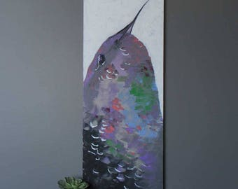 "Hummingbird 40""x16"" Original Acrylic Painting"
