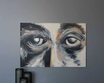 "All Eyes 24""x36"" Original Acrylic Painting"