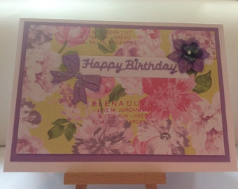 Floral birthday card in pink and mauve