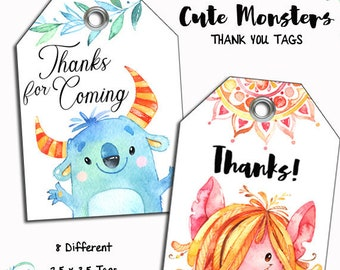 INSTANT DOWNLOAD Monsters Thank You Tags, Printable Partyr,  Cupcake Toppers