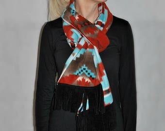 Aztec Print Fleece Scarf With Fringe
