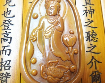 Natural yellow jade lotus  Guanyin pendants Patron saint